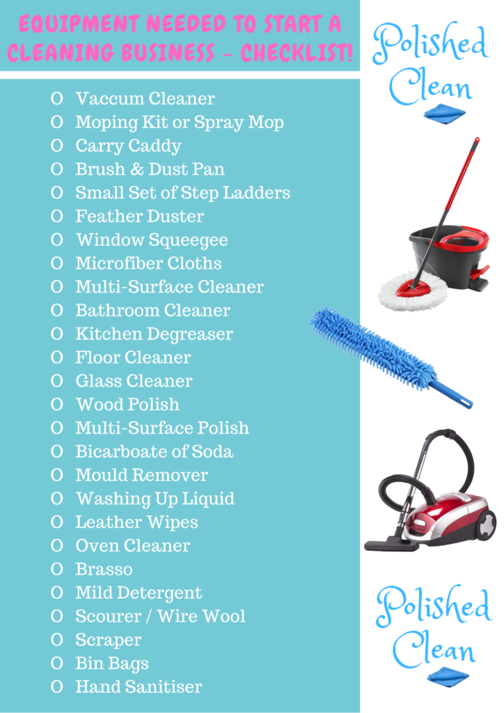 Equipment needed to start a cleaning business